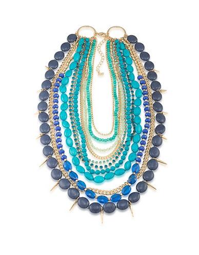 A.B.S. By Allen Schwartz Castaway Multi-Row Spike Drop Necklace-BLUE-One Size