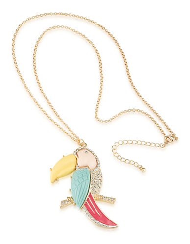 A.B.S. By Allen Schwartz Sun Daze Parrot Pendant Necklace-GOLD-One Size