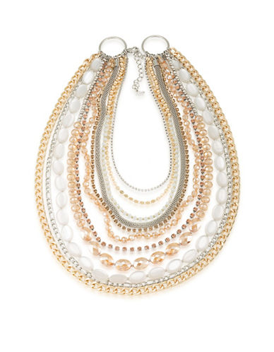 A.B.S. By Allen Schwartz Crystal Two-Tone Multistrand Necklace-TWO TONE-One Size