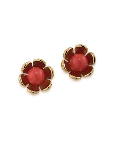 Trina Turk Wildflower Flower Stud Pierced Earrings-RED-One Size