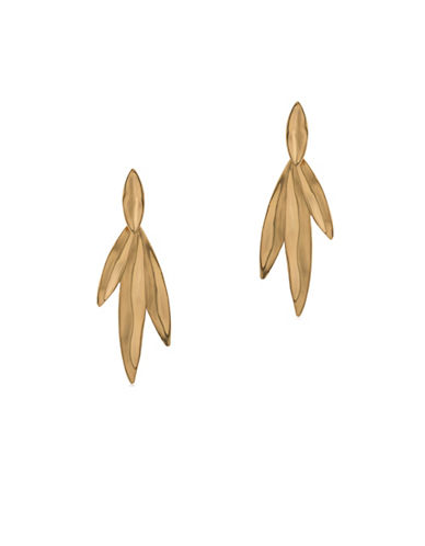 Trina Turk Wildflower Leaf Linear Pierced Earrings-GOLD-One Size