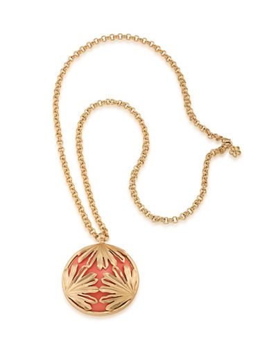 Trina Turk Wildflower Palm Leaf Pendant Necklace-RED-One Size