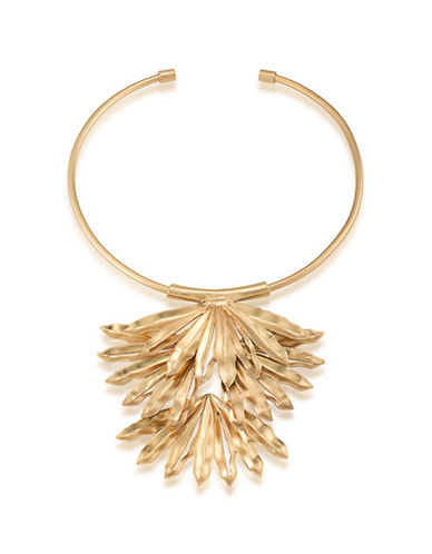 Trina Turk Wildflower Palm Leaf Frontal Pendant Necklace-GOLD-One Size