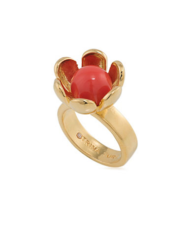 Trina Turk Wildflower Flower Ring-RED-One Size