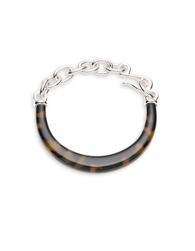 Lauren Ralph Lauren Silvertone Chain and Tortoiseshell Bracelet-DARK BROWN-One Size