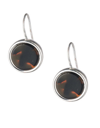 Lauren Ralph Lauren Tortoiseshell Round Drop Earrings-DARK BROWN-One Size