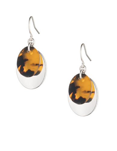 Lauren Ralph Lauren Tortoiseshell Oval Drop Earrings-DARK BROWN-One Size