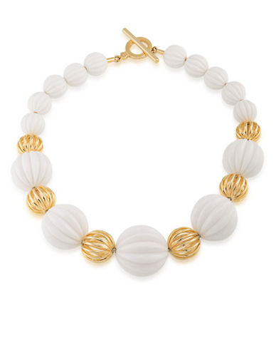 Trina Turk Beveled Bead Collar Necklace-WHITE-One Size
