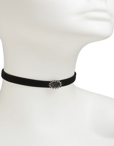 Carolee Jet Cabochon Choker Necklace-BLACK-One Size