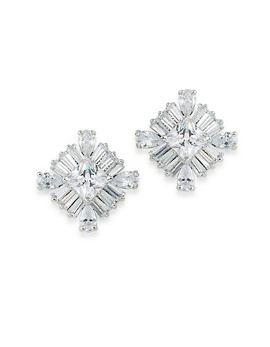 Carolee Glass Ceiling Square Stone Stud Earrings-SILVER-One Size