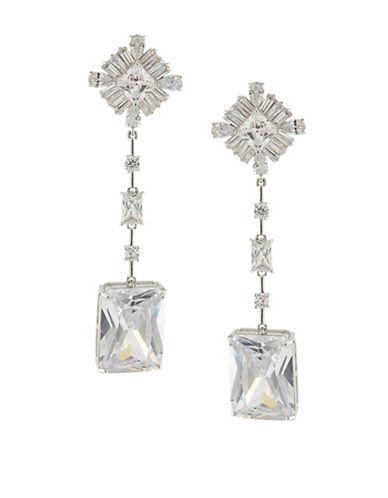 Carolee Glass Ceiling Linear Drop Pierced Earrings-SILVER-One Size