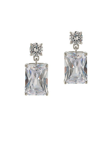 Carolee Glass Ceiling Silvertone Double Drop Pierced Earrings-SILVER-One Size