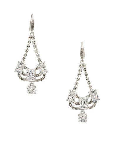 Carolee Glass Ceiling Mini Chandelier Pierced Drop Earrings-SILVER-One Size