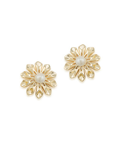 Carolee Faux Pearl Goldtone Pearl Glam Earrings-GOLD-One Size