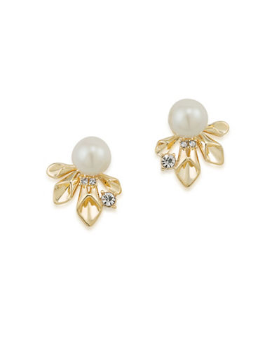 Carolee Pearl Glam Faux Peal Goldtone Earrings-GOLD-One Size