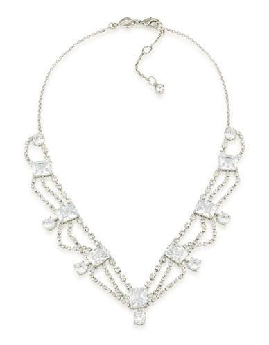 Carolee Pave Cascading Bridal Necklace-SILVER-One Size