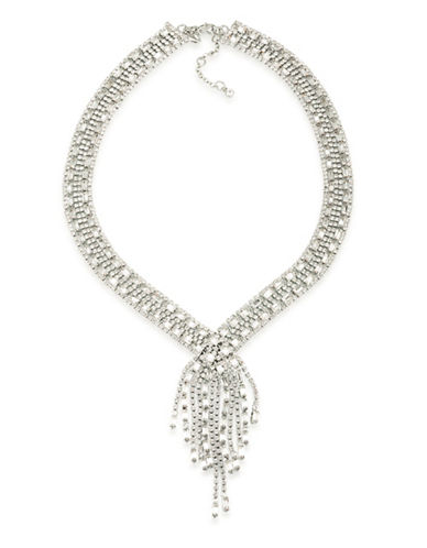 Carolee Pave Fringe Bridal Necklace-SILVER-One Size