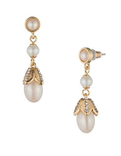 Carolee Pearl Glam Faux Pearl Goldtone Drop Earrings-GOLD-One Size
