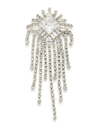 Carolee Glass Ceiling Cluster Fringe Pin-SILVER-One Size