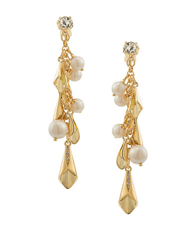 Carolee Pearl Glam Faux Pearl Goldtone Cluster Earrings-GOLD-One Size
