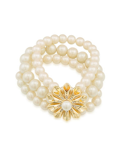 Carolee Faux Pearl Three-Row Stretch Pearl Glam Bracelet-GOLD-One Size