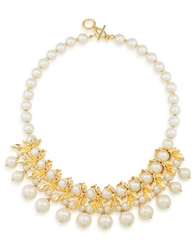 Carolee Faux Pearl Floral Spray Necklace-GOLD-One Size