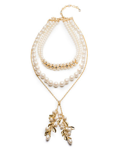 Carolee Faux Pearl Choker Lariat Necklace-GOLD-One Size