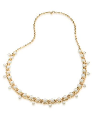 Carolee Faux Pearl Beaded Necklace-GOLD-One Size