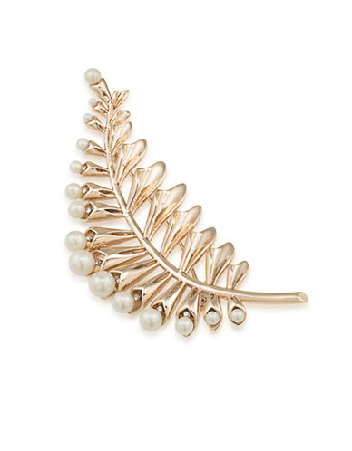 Carolee Pearl Glam Faux Pearl Goldtone Floral Leaf Pin-GOLD-One Size