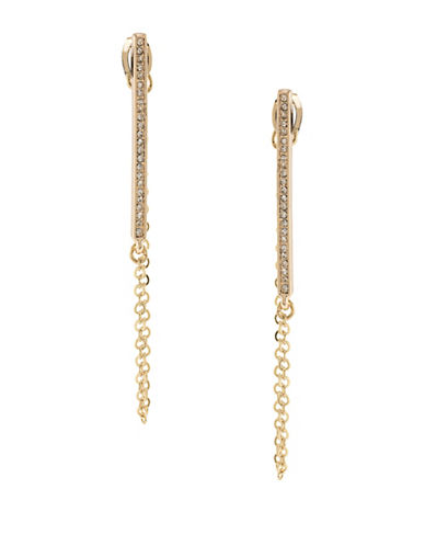A.B.S. By Allen Schwartz Crystal Chain Swag Pierced Earrings-GOLD-One Size