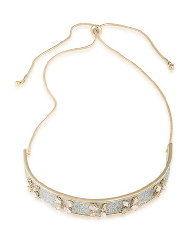 A.B.S. By Allen Schwartz Anything Goes Goldtone Glitter Inlay Choker Necklace-GOLD-One Size