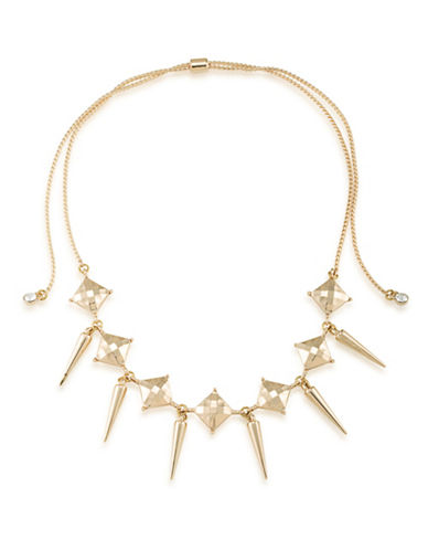 A.B.S. By Allen Schwartz Choker Spike Drop Necklace-GOLD-One Size