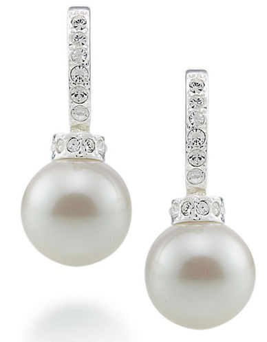 Carolee Crystal And Pearl Hoop Earrings-PEARL-One Size