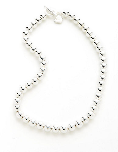 Lauren Ralph Lauren 8mm Bead Necklace-SILVER-One Size