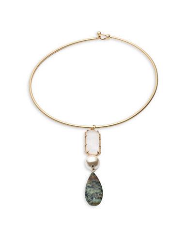 Lauren Ralph Lauren Hard Collar Necklace with Stone Pendant-ASSORTED-One Size