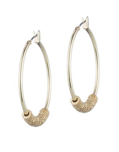Lauren Ralph Lauren Hoop Earrings With Textured Rings-GOLD-One Size