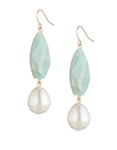 Lauren Ralph Lauren Bead and Faux Pearl Drop Earrings-MULTI-One Size