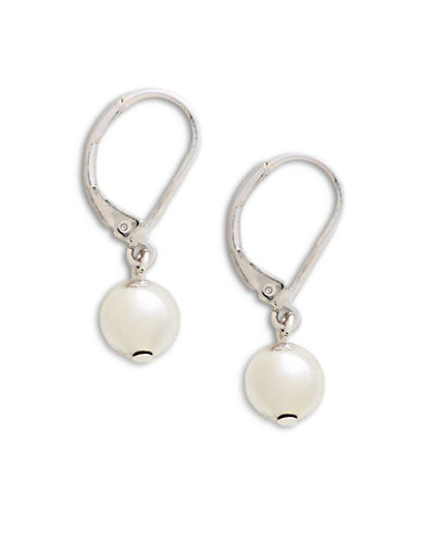 Lauren Ralph Lauren 8mm Ball Drop Earrings-WHITE-One Size