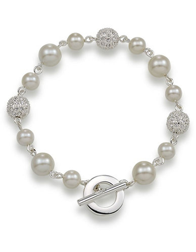 Carolee Crystal Fireball And White Pearl Bracelet-SILVER-One Size