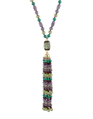 Lauren Ralph Lauren Multi-Stone Amethyst and Malachite Recon Necklace-MULTI-One Size