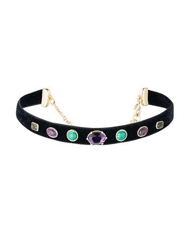 Lauren Ralph Lauren Multi Stone Amethyst and Malachite Recon Velvet Choker Necklace-MULTI-One Size