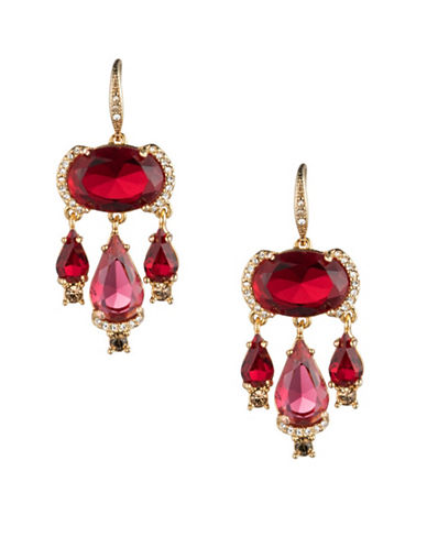 Carolee Victorian Empire Chandelier Earrings-RED-One Size