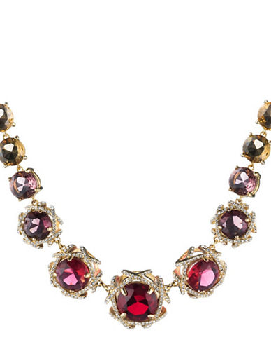 Carolee Victorian Empire Rosette Frontal Necklace-RED-One Size