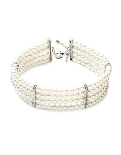 Carolee Pearl Manor Faux Pearl Four-Row Choker Necklace-WHITE-One Size