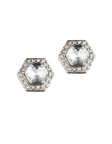 Carolee Crystal Abbey Hex Stud Earrings-SILVER-One Size