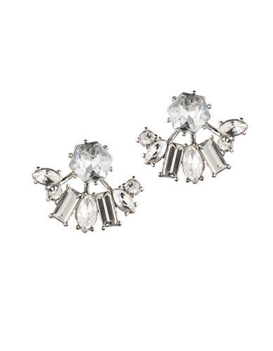 Carolee Crystal Abbey Hex Jacket Earrings-SILVER-One Size