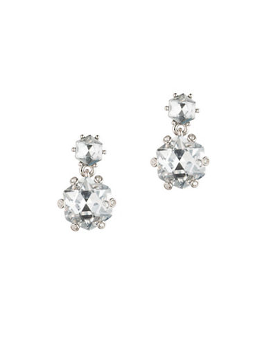 Carolee Crystal Abbey Hex Double Drop Earrings-SILVER-One Size