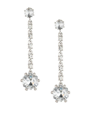 Carolee Crystal Abbey Hex Linear Earrings-SILVER-One Size
