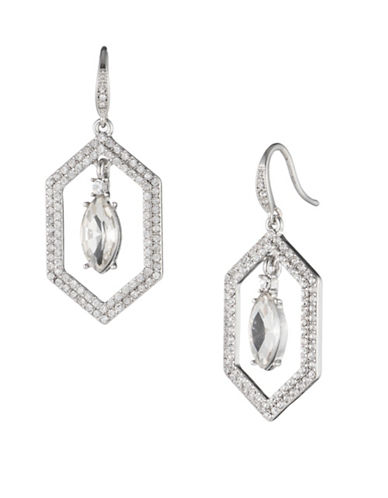 Carolee Crystal Abbey Openwork Drop Earrings-SILVER-One Size