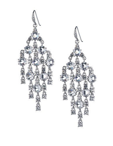 Carolee Crystal Abbey Drama Chandelier Earrings-SILVER-One Size